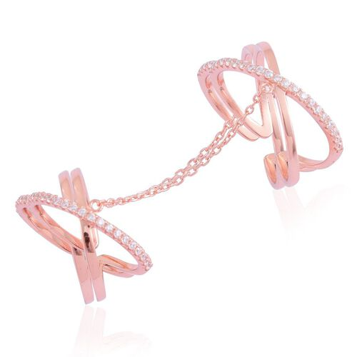 ELANZA AAA Simulated White Diamond 2 Rings with Chain in Rose Gold Overlay Sterling Silver