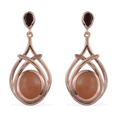 Mitiyagoda Peach Moonstone (Ovl), Rhodolite Garnet Earrings (with Push Back) in Rose Gold Overlay Sterling Silver 9.400 Ct.