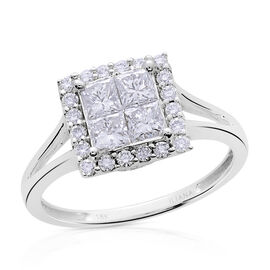 ILIANA 18K White Gold 1 Carat Diamond Princess Cluster Ring IGI Certified SI G-H Invisible Set.