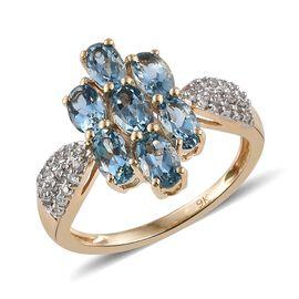 9K Y Gold AA Santa Maria Aquamarine (Ovl), Natural Cambodian Zircon Floral Ring 1.750 Ct.