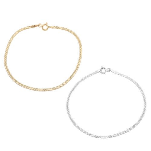 JCK Vegas Collection Set of 2 - Yellow Gold Overlay and Sterling Silver Bracelet (Size 7.5).