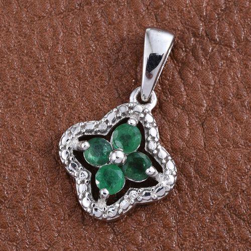 Kagem Zambian Emerald (Rnd) Pendant in Platinum Overlay Sterling Silver 0.500 Ct.