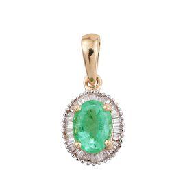 ILIANA 18K Y Gold Boyaca Colombian Emerald (Ovl 1.25 Ct), Diamond Pendant 1.500 Ct.
