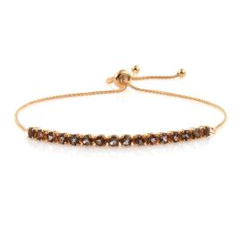 Brazilian Andalusite (Rnd) Adjustable Bracelet (Size 6 to 9.5) in 14K Gold Overlay Sterling Silver 2.000 Ct.