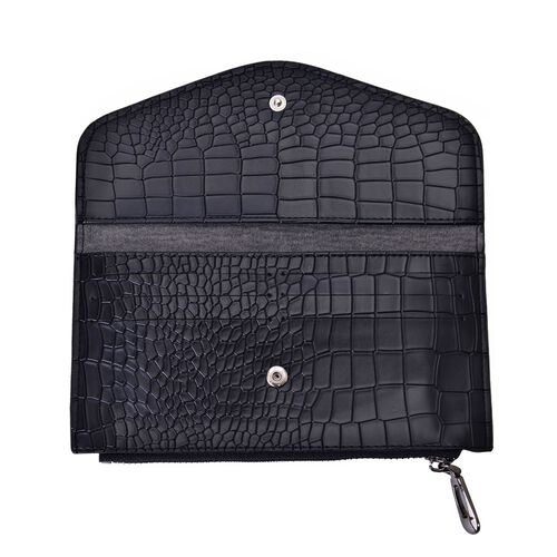 Set of 2 - TJC Envelope Design Burgundy Colour and Croc Embossed Black Colour Wallet (Size 20.5x10 Cm and 20x10 Cm)