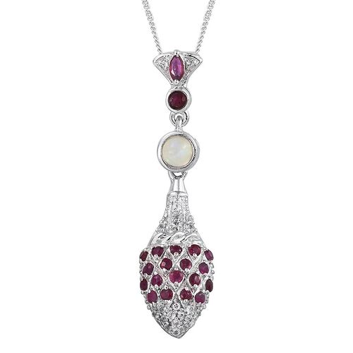 GP Burmese Ruby (Rnd), Ethiopian Welo Opal, White Topaz and Kanchanaburi Blue Sapphire Pendant With Chain in Platinum Overlay Sterling Silver 1.000 Ct.