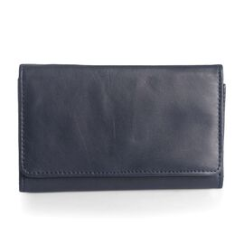 Genuine Leather RFID Blocker Blue Colour Ladies Wallet (Size 15.5x8.5 Cm)