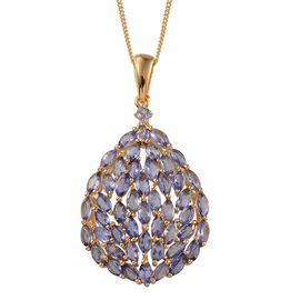 Tanzanite (Mrq) Cluster Pendant With Chain in 14K Gold Overlay Sterling Silver 3.800 Ct.