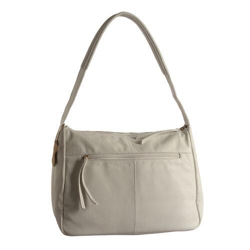 Genuine Leather RFID Blocker White Colour Handbag with External Zipper Pocket (Size 36X28X16 Cm)