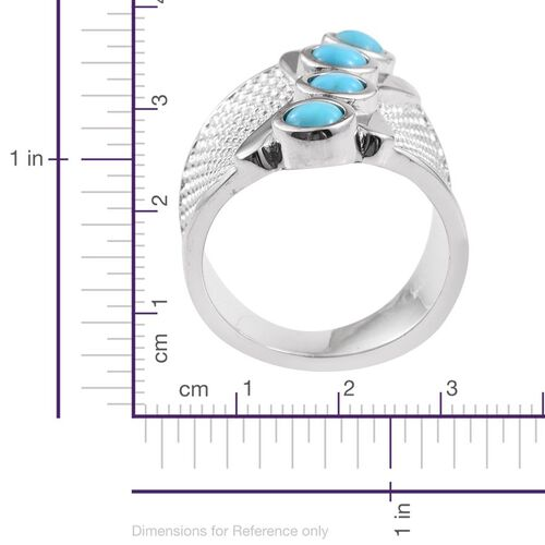 Kingman Turquoise (Rnd) Ring in ION Plated Platinum Bond 1.500 Ct.