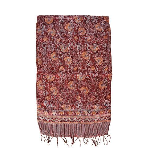 Orange Colour Batik Print 100% Silk Scarf (Size 150x45 Cm)