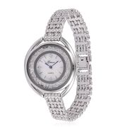 GENOA Japanese Movement Mother of Pearl Dial Watch in Silver Tone with White Austrian Crystal and Stainless Steel Back