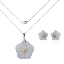 Fresh Water Peach Pearl and White Shell Floral Pendant With Chain (Size 18) and Earrings (with Push Back) in Sterling Silver