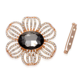 (Option 4) Black Glass, White Austrian Crystal Floral Brooch or Scarf Clip in Gold Tone