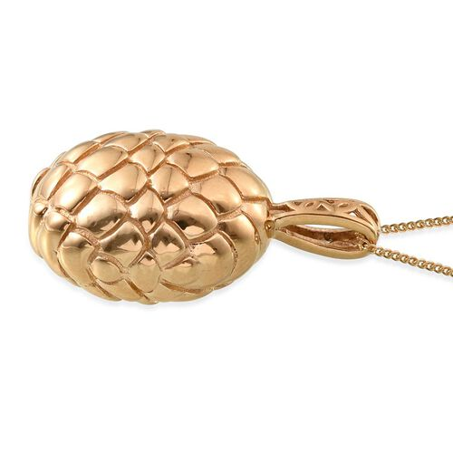 14K Gold Overlay Sterling Silver Pine Cone Inspired Pendant With Chain, Silver wt 8.18 Gms.