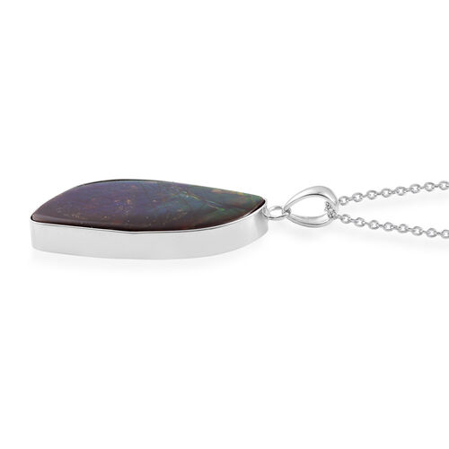 Canadian Ammolite Pendant With Chain in Rhodium Plated Sterling Silver 18.410 Ct.