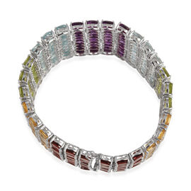 Sky Blue Topaz (Ovl), Hebei Peridot, Citrine, Amethyst and Mozambique Garnet Bracelet in Sterling Silver (Size 8) 205.000 Ct.