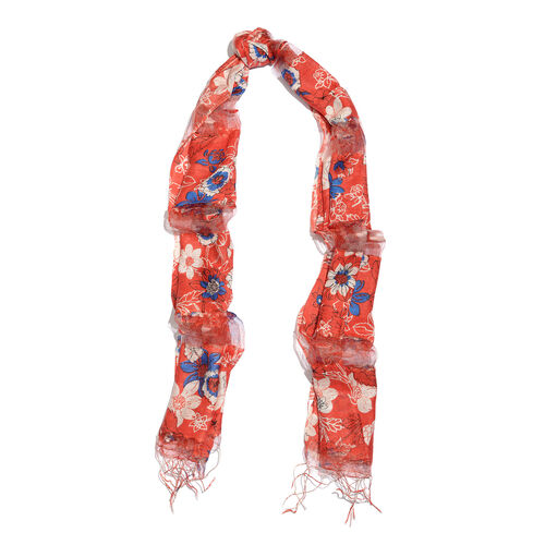 Super Auction- 65% Silk Blue, Red and Multi Colour Artistic Floral Pattern Scarf with Fringes (Size 180x50 Cm)