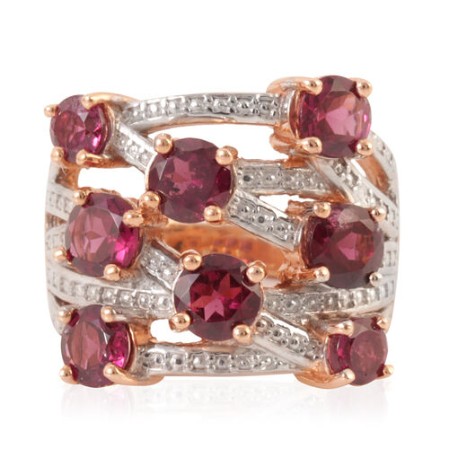 Rhodolite Garnet (Rnd) Ring in Rose Gold Overlay Sterling Silver 4.500 Ct.