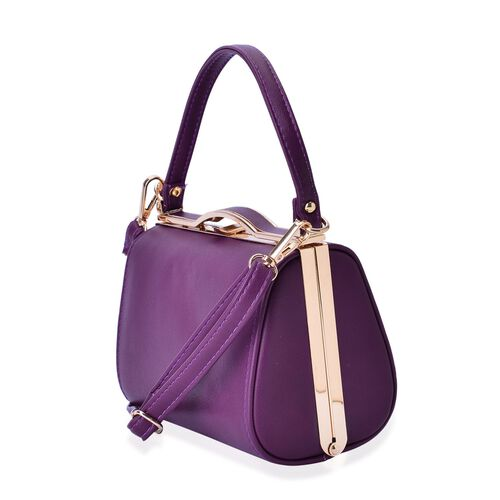Purple Colour Clutch Bag With Adjustable and Removable Shoulder Strap (Size 18x12.5x10 Cm)