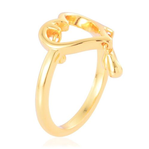 LucyQ Open Melting Heart Ring with 3 Drip in Yellow Gold Overlay Sterling Silver 2.96 Gms.