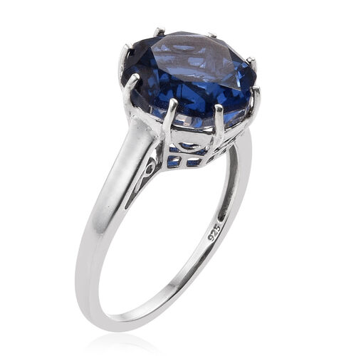 Ceylon Colour Quartz (Octillion Cut) Solitaire Ring in Platinum Overlay Sterling Silver 7.000 Ct.