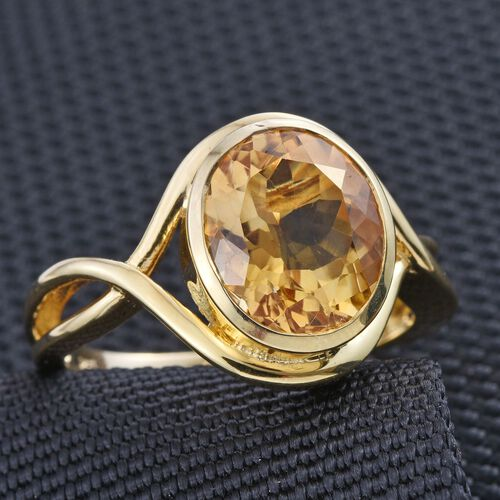 Citrine (Ovl) Solitaire Ring in 14K Gold Overlay Sterling Silver 4.250 Ct.