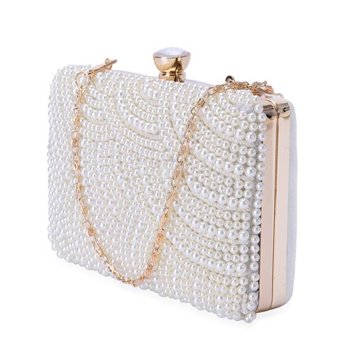 (Option 2) Simulated White Pearl and White Glass Clutch Bag with Chain Strap in Gold Tone (Size 16x10x4 Cm)