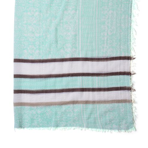 One Time Deal-Green, White and Multi Colour Stripes Pattern Scarf with Fringes (Size 180X90 Cm)