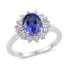 ILIANA 18K White Gold AAA Tanzanite Oval, Diamond (SI G-H) Ring 2.500 Ct.