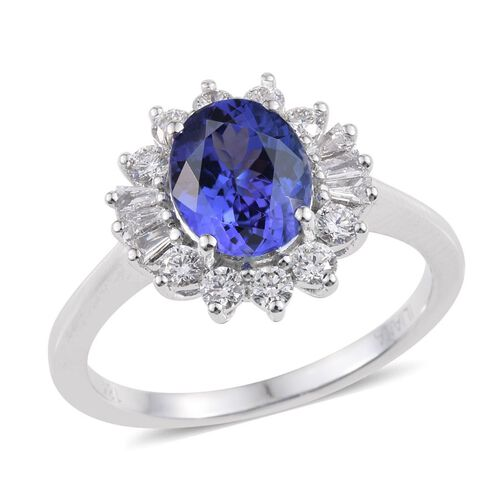 ILIANA 18K White Gold 2.50 Carat AAA Tanzanite Oval Halo Ring, Diamond SI G-H.