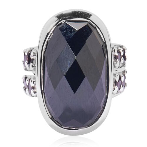 Boi Ploi Black Spinel (Cush 15.00 Ct) Ring in Rhodium Plated Sterling Silver 15.500 Ct.