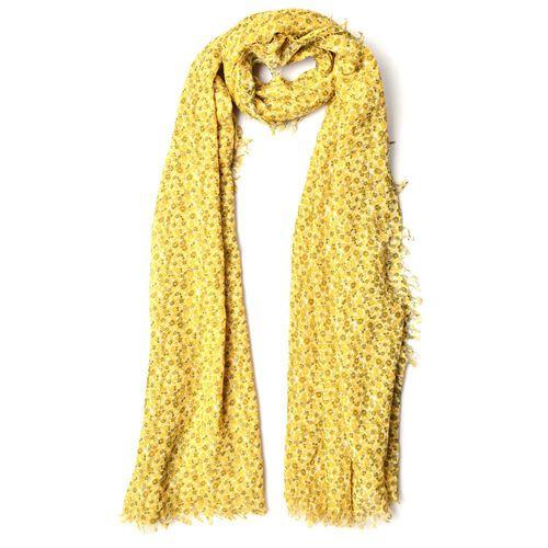 Floral Pattern Yellow Colour Scarf (Size 180x90 Cm)