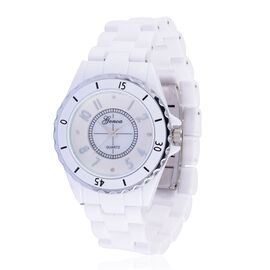 Diamond studded GENOA White Ceramic Japanese Movement Watch in MOP Dial Water Resistant in Silver Tone with Stainless Steel Back