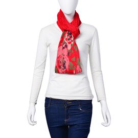 Limited Edition-Red and Multi Colour Floral Pattern and Lacy Work Infinity Scarf (Size 85x35 Cm)