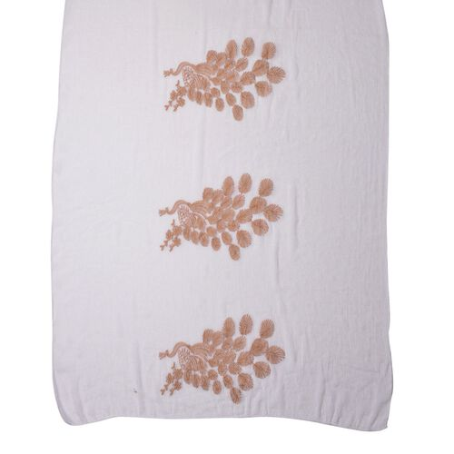 Golden Peacock Embroidered White Colour Scarf (Size 170X70 Cm)