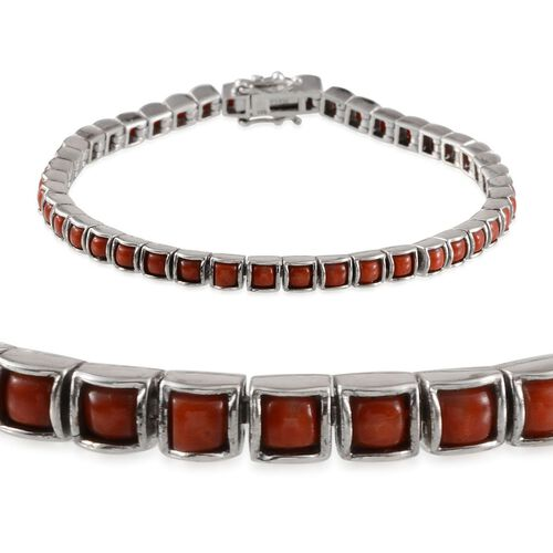 Natural Mediterranean Coral (Sqr) Bracelet in Platinum Overlay Sterling Silver (Size 8) 5.000 Ct.