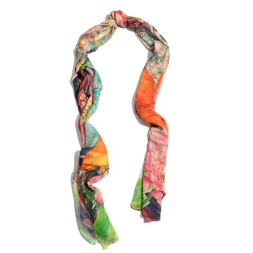 Digital Floral Pattern Multi Colour Scarf (Size 180x70 Cm)