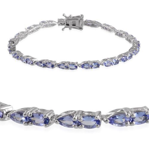 Tanzanite (Ovl) Bracelet in Platinum Overlay Sterling Silver (Size 8) 6.000 Ct.