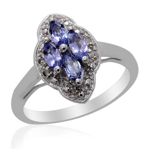 Tanzanite (0.50 Ct) Diamond Platinum Overlay Sterling Silver Ring   0.530  Ct.