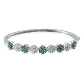 Kagem Zambian Emerald (Rnd), Natural Cambodian Zircon Bangle (Size 7.5) in Platinum Overlay Sterling Silver 4.750 Ct.