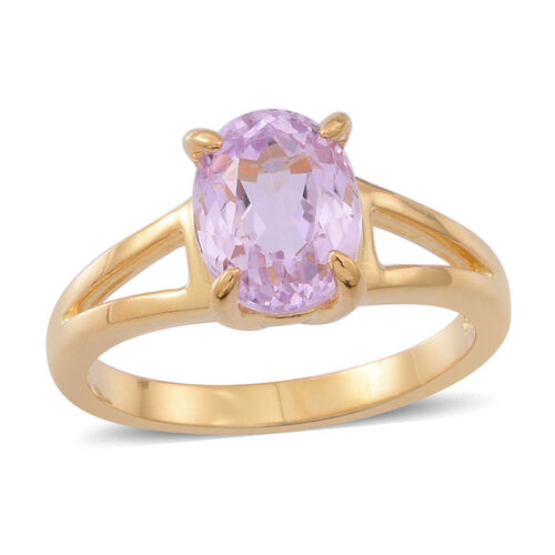 AAA Brazilian Kunzite (Ovl) Solitaire Ring in 14K Gold Overlay Sterling Silver 2.500 Ct.