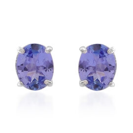 Tanzanite (Ovl) Stud Earrings (with Push Back) in Sterling Silver 0.750 Ct.