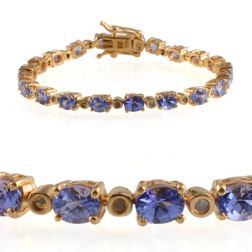 AA Tanzanite (Ovl), Diamond Bracelet in 14K Gold Overlay Sterling Silver (Size 7.5) 7.400 Ct.