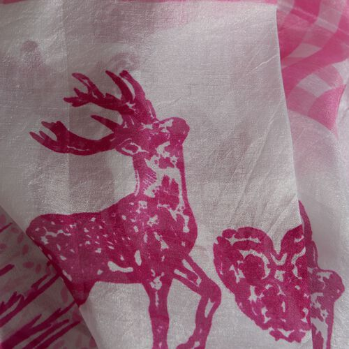 100% Silk Pink and White Colour Deer Pattern Pareo (Size 180x100 Cm)