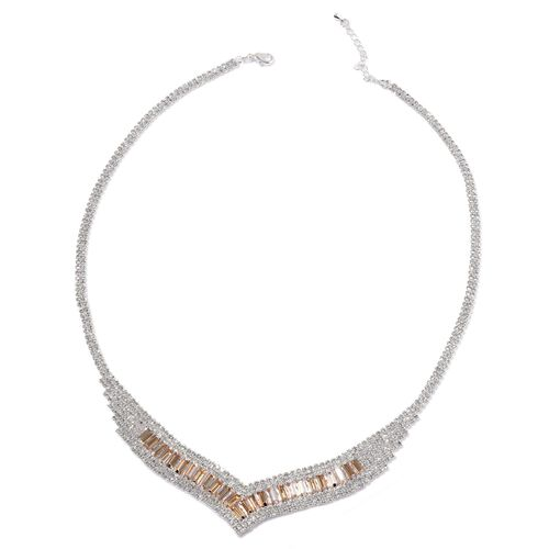 Simulated Champagne Diamond and White Austrian Crystal Necklace (Size 20 with 2 inch Extender) in Silver Tone