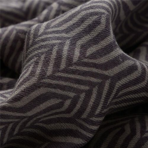 75% Silk and 25% Merino Wool Cream and Chocolate Colour Woven Scarf (Size 180x70 Cm)