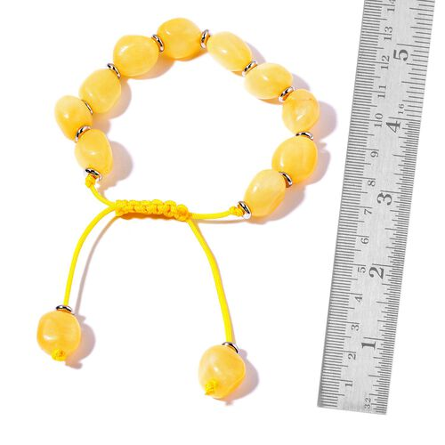 Yellow Quartzite Adjustable Bracelet (Size 7.5) in Silver Tone 155.000 Ct.