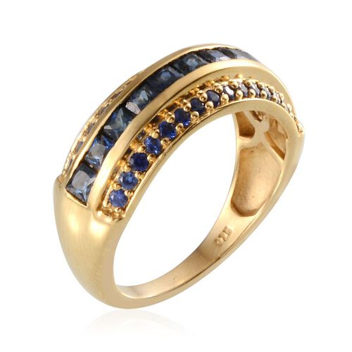 Kanchanaburi Blue Sapphire (Sqr) Ring in 14K Gold Overlay Sterling Silver 1.750 Ct.