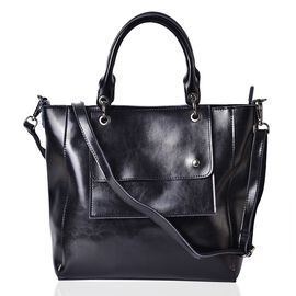 Pimlico Genuine Leather Black Colour Tote Bag with External Zipper Pocket, Adjustable and Removable Shoulder Strap (Size 36x29x29x12 Cm)